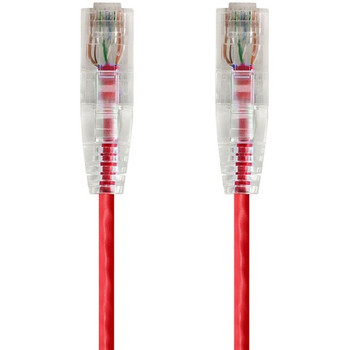 Monoprice SlimRun Cat6 28AWG UTP Ethernet Network Cable, 3ft Red