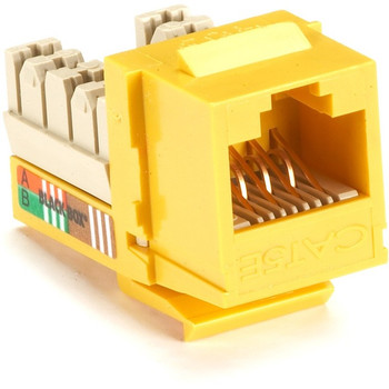 Black Box GigaBase Plus CAT5e Keystone Jack - Unshielded, RJ45, Yellow