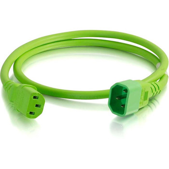 C2G 3ft 18AWG Power Cord (IEC320C14 to IEC320C13) - Green
