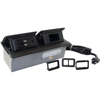 C2G Cord Ended deQuorum Dual Flip-Up Unit with USB - Black Powder Coat