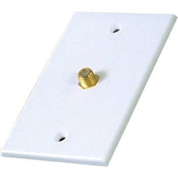 Technicolor RG6 or RG59 Coaxial Cable White Wall Plate with Single Connector