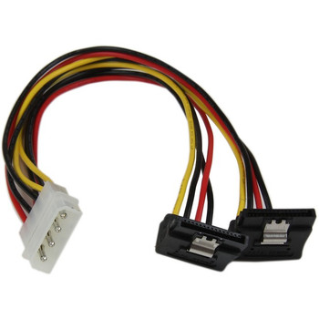 StarTech.com 12in LP4 to 2x Right Angle Latching SATA Power Y Cable Splitter - 4 Pin LP4 to Dual SATA