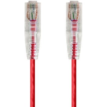 Monoprice SlimRun Cat6 28AWG UTP Ethernet Network Cable, 7ft Red