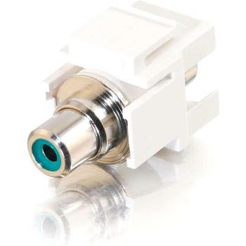 C2G Snap-In Green RCA F/F Keystone Insert Module - White
