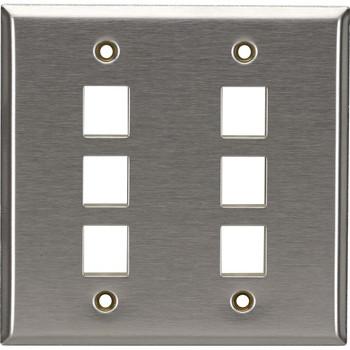 Black Box Keystone Wallplate - Stainless Steel, Double-Gang, 6-Port