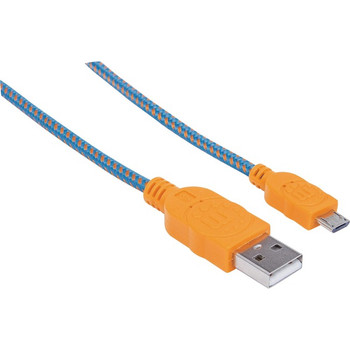 Manhattan Hi-Speed USB 2.0 A Male to Micro-B Male Braided Cable, 1 m (3 ft.), Blue/Orange