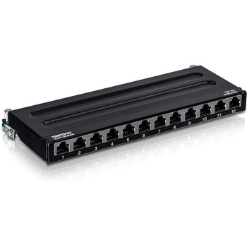 TRENDnet 12-Port Cat6A Shielded Patch Panel, 10G Ready, Cat5e,Cat6,Cat6A Compatible, Metal Housing, Color-Coded Labeling For T568A And T568B Wiring, Cable Management, Wall Mountable, Black, TC-P12C6AS
