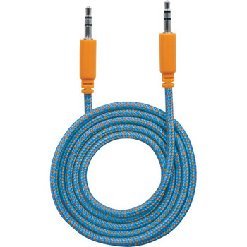 Manhattan 3.5mm Stereo Male to Male Braided Audio Cable, 1.8 m (6 ft), Blue/Orange