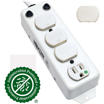 Tripp Lite Safe-IT Power Strip Medical Antimicrobial 120V 4 Outlet UL1363A 15ft Right Angle Cord