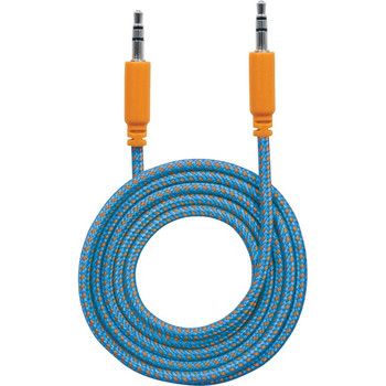 Manhattan 3.5mm Stereo Male to Male Braided Audio Cable, 1 m (3 ft), Blue/Orange
