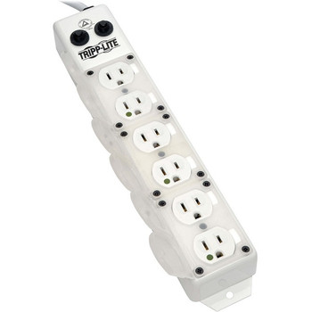 Tripp Lite Safe-IT Power Strip Medical Hospital Antimicrobial 120V 6 Outlet UL1363A 15ft Right Angle Cord