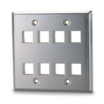 8-Port Double Gang Stainless Steel Facep