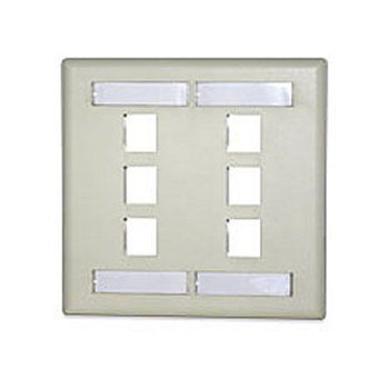 6-Port Double Gang Faceplate w/Labeling,