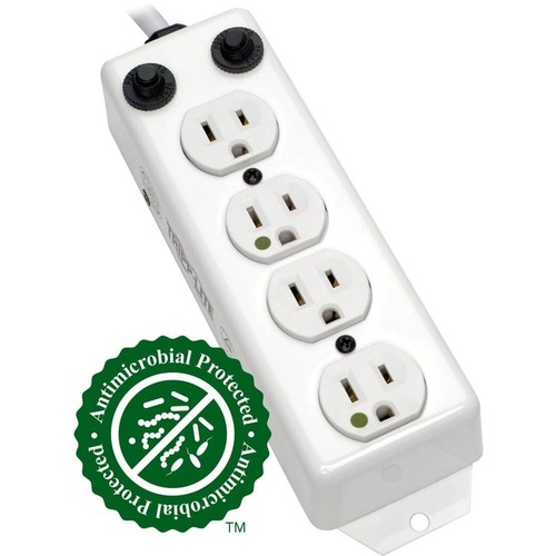 Tripp Lite Safe-IT Power Strip Hospital Medical Antimicrobial 120V 4 Outlet UL1363A 15' Cord Metal