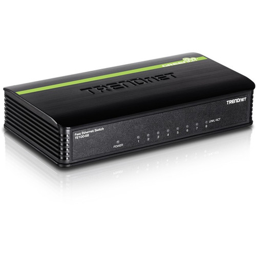 TRENDnet 8-Port Unmanaged 10/100 Mbps GREENnet Ethernet Desktop Switch; TE100-S8; 8 x 10/100 Mbps Ethernet Ports; 1.6 Gbps Switching Capacity; Plastic Housing; Network Ethernet Switch; Plug & Play