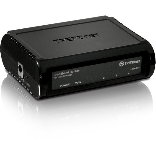 TRENDnet 4-Port Broadband Router, 4 x 10-100 Mbps Half-Full Duplex Switch Ports, Instant Recognizing, Remote Management, MAC Address Control To Allow Or Deny Access, Black, TW100-S4W1CA