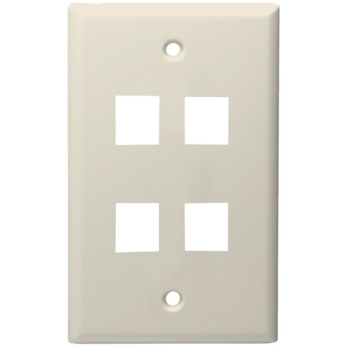 4-Port Standard Size Keystone Wall Plate (Lite Almond)