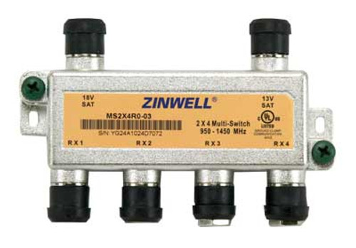 Zinwell MS2X4RO-03 2x4 DTV Multiswitch with Weather Seals