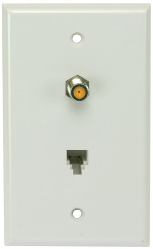 Perfect Vision WPSWPWSC-05 White Wall Plate with Single 3GHz F-81 and Phone Jack