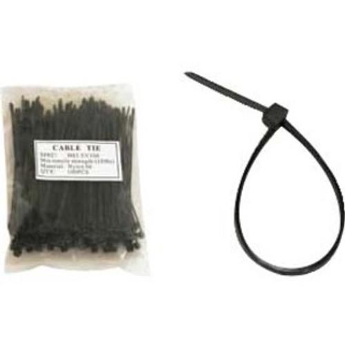 Unirise 4in Nylon Cable Tie 18lbs Black 100pk