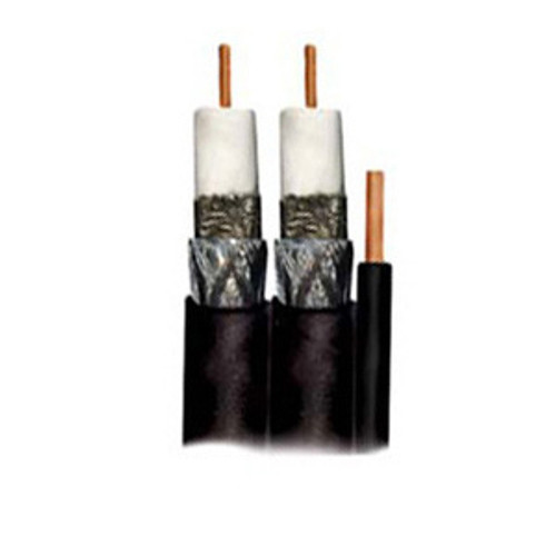 Perfect Vision Dual Direct Burial RG6 Solid Copper with Ground-Black, 500 Feet-DIRECTV Approved