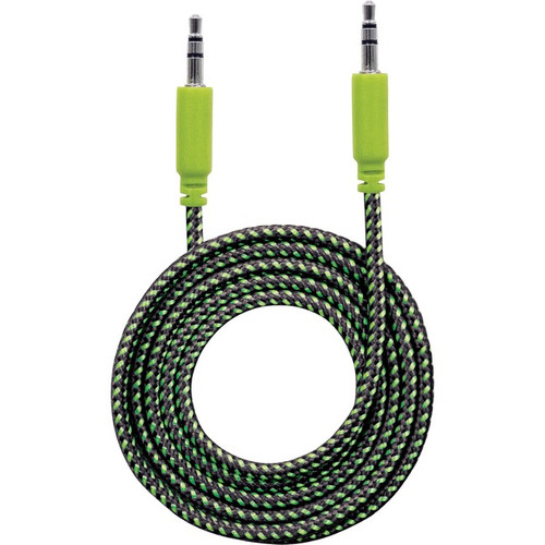 Manhattan 3.5mm Stereo Male to Male, Black/Green, 1.8 m (6 ft.)