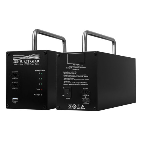 Sunburst Gear MPB1 Dual Output Power Bank for MM series Speakers - front and rear side by side view