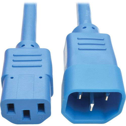 Tripp Lite 2ft Computer Power Extension Cord 10A 18 AWG C14 to C13 Blue 2'