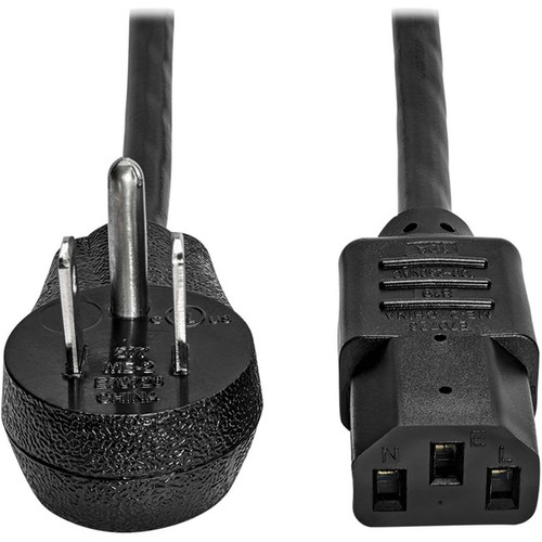 Tripp Lite Computer Power Cord Right-Angle 5-15P to C13 10A 125V 18AWG 3ft