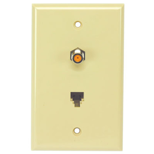 Perfect Vision WPSWPISC-05 Ivory Wall Plate with Single 3GHz F-81 and Phone Jack