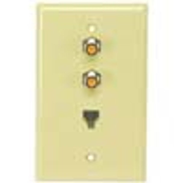 Perfect Vision Ivory Wall Plate with Dual HF Coaxial F-81 and Phone Jack