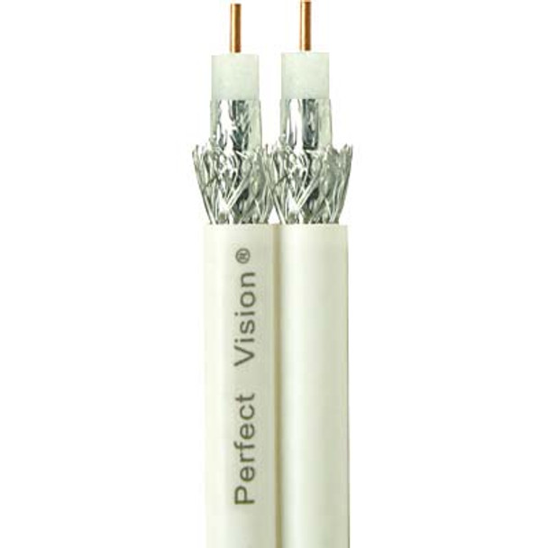 Perfect Vision Dual RG6 Coax, Solid Copper, DIRECTV Approved, White, 500ft