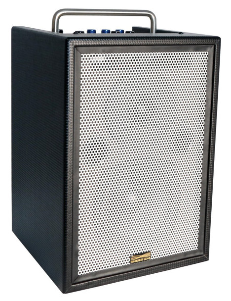 Sunburst Gear M3R8 Three Channel Mixer/Monitor Portable All-In-One Rechargeable Battery Powered PA Speaker System - front side view