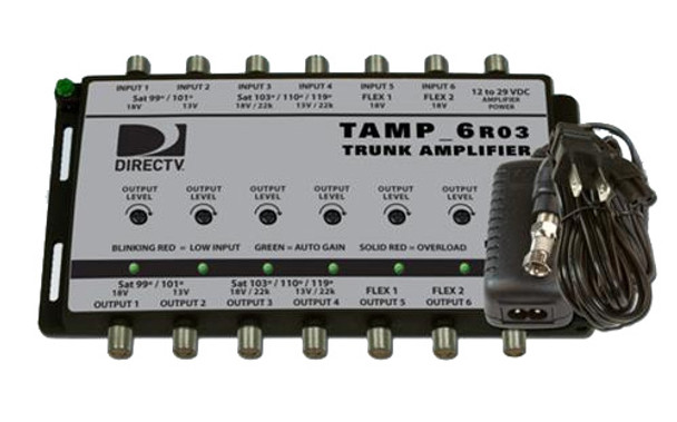 Sonora TAMP6-T12 DIRECTV 6-Input Trunk Amplifier with Auto Gain. Includes Power Supply.
