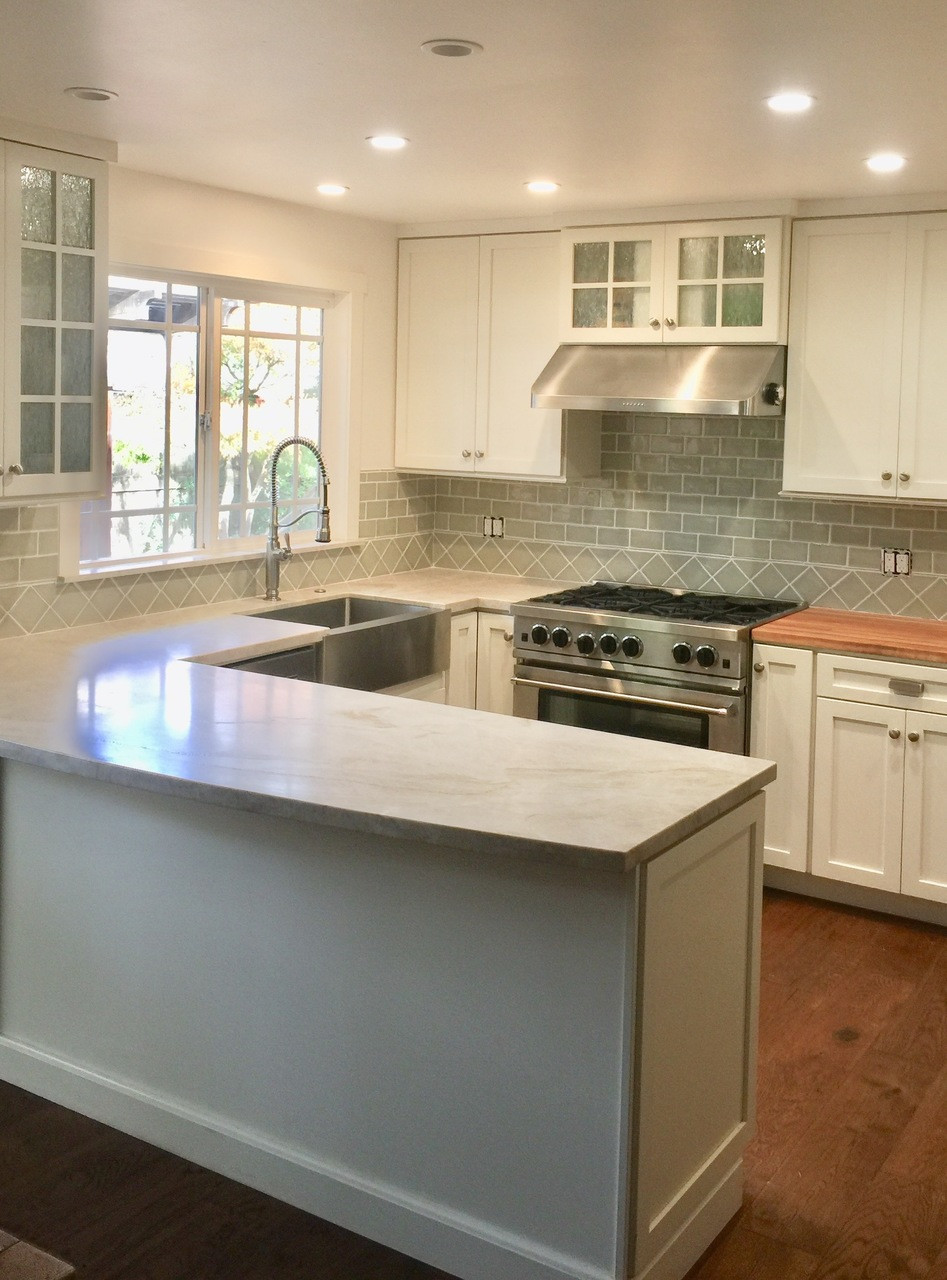Classic Cottage Kitchen with Handmade Subway Tile & 4x4 ...