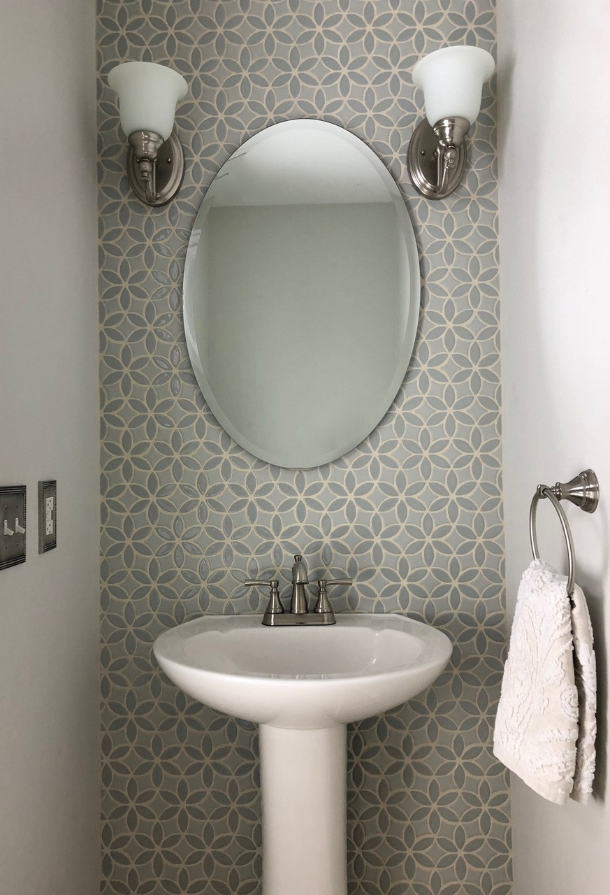 - Charming Powder Room With Bloom Handmade Tile Accent Wall - Julep