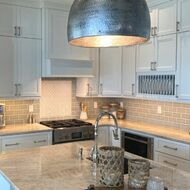 Beautiful Beach Style Kitchen with Blue Handmade Tile