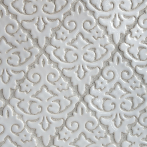 Damask pattern handmade tile