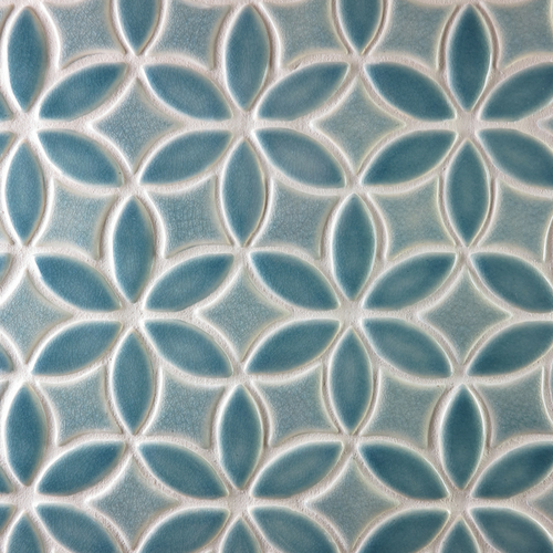 Handmade Tile with Bloom Pattern in Deep Blue Crackle & Sky Blue Crackle glazes