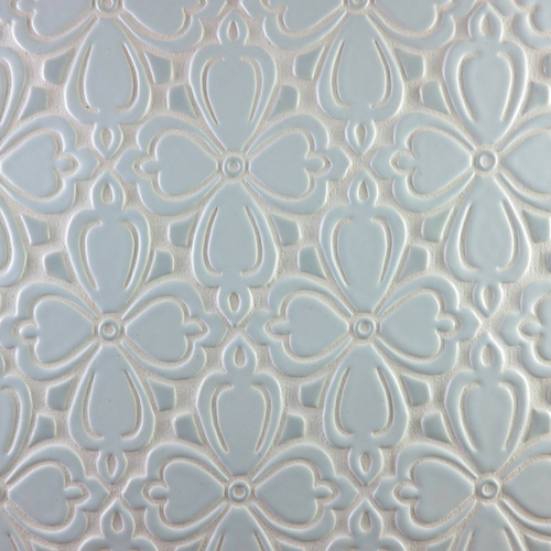 Handmade Tile Brocade Pattern in Light Gray & Satin Silver
