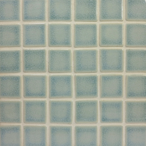 "2x2"" mosaic handmade tile in Sky Blue Crackle glaze"