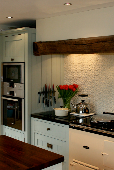 English Country Kitchen with Handmade Tile Backsplash