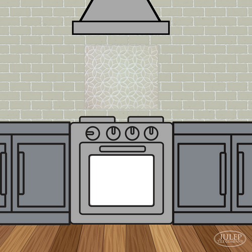 Kitchen Backsplash with Bloom Handmade Tile Decorative Insert Over the Oven Range