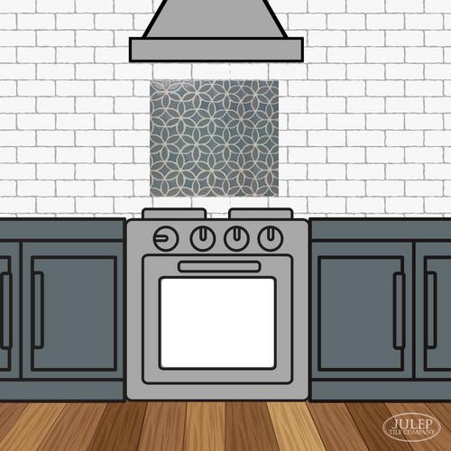 Kitchen Backsplash with Two-Color Bloom Handmade Tile Decorative Insert