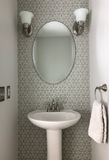 Charming Powder Room with Handmade Tile Accent Wall