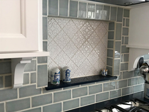 Dreamy Nautical Kitchen with Hiser Handmade Tile - Julep ... on kitchen flooring ideas, small galley kitchen design ideas, kitchen floor makeovers, kitchen area rugs, kitchen painted floor stencil, kitchen floor tile, stained concrete floor ideas,