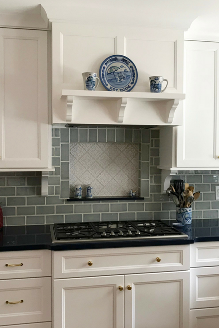 Handmade Tile Niche with Green Crackle Subway Tile Backsplash