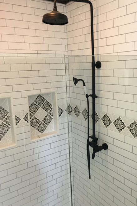 Handmade Tile Border with Niches in Modern Farmhouse Shower with Subway TIle