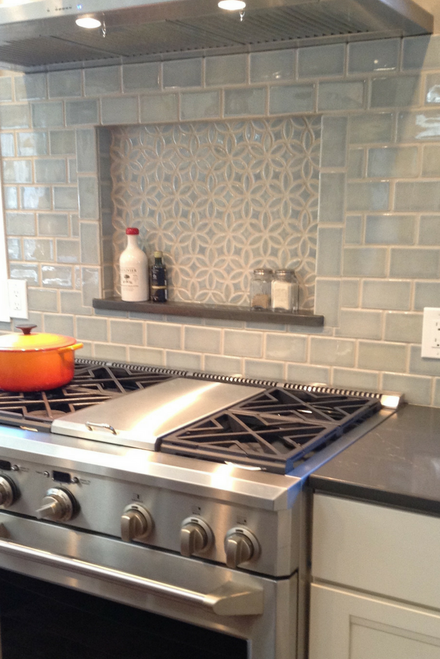 Decorative Niche Above the Oven with Handmade Subway Tile Backsplash