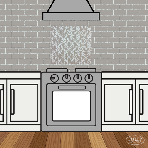 Kitchen Backsplash with Brocade Handmade Tile Decorative Insert Over the Stove